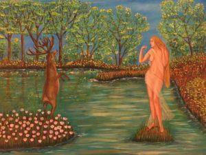 """Metamorfosi di Ovidio. Atteone e Diana"" olio su tela 60x80cm"