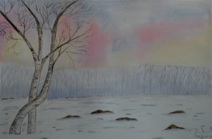 """Paesaggio invernale"" acquerello 30,5x45,5cm 2010"