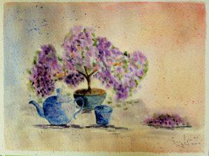 """""""Bonsai in fiore"""" acquerello 23x30,5cm"""