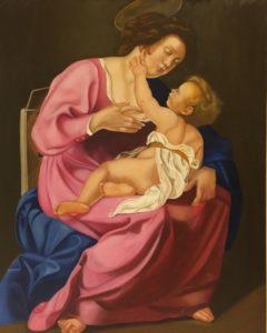 """Copia d'autore """"la madonna con il bambino"""" olio su tela 80x100cm 2017"""