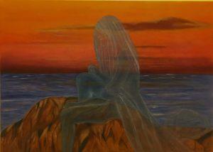"""""""La donna e il mare 1"""" olio su tela 50x70cm 2015"""