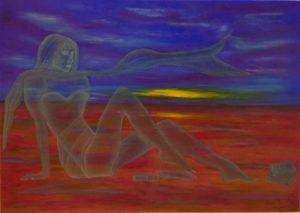 """""""La donna e il mare 2"""" olio su tela 50x70cm 2015"""