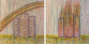 """""""Città 1 e 2"""" - tecnica mista su tel ariclico, pastello e biro 50x50cm 2017"""