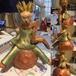 Lavorazione in ceramica, patinato con pigmenti. Dimensioni 25x15 cm.