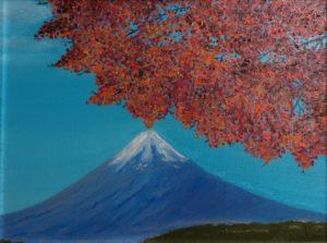 """""""Monte Fuji"""" olio su cartone telato 30x40cm 2010"""