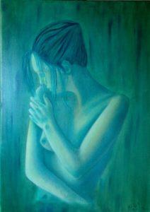 """""""Pudore"""" olio su tela 50x70cm 2013 ( collezione femminilità)"""
